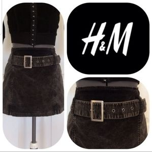 H&M carcoal gray skirt short brushed cotton